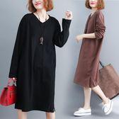 秋季大碼連身裙女裝201時尚胖mm洋氣顯瘦韓版寬鬆文藝藏肉打底裙   巴黎街頭