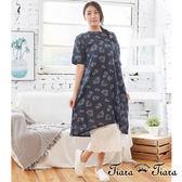 【Tiara Tiara】百貨同步aw 森林系果實印象純棉5分袖洋裝(藍/米/橘褐)