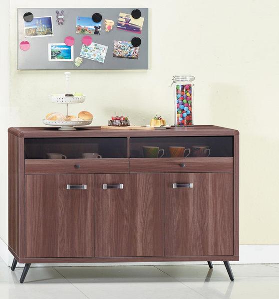 【森可家居】奧斯汀胡桃4尺餐櫃 7JX292-9 中島廚房櫃 碗盤收納 木紋質感 北歐工業風