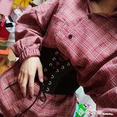 韓國時尚綁帶鬆緊寬腰帶女配裙子裝飾襯衫搭襯衣簡約百束身布腰封 西城故事