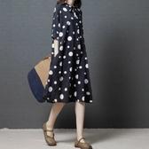 初心 黑白洋裝 【D3120】 圓圈圈 短袖 開襟 寬鬆 舒適 薄款 透氣 棉麻 開扣洋裝