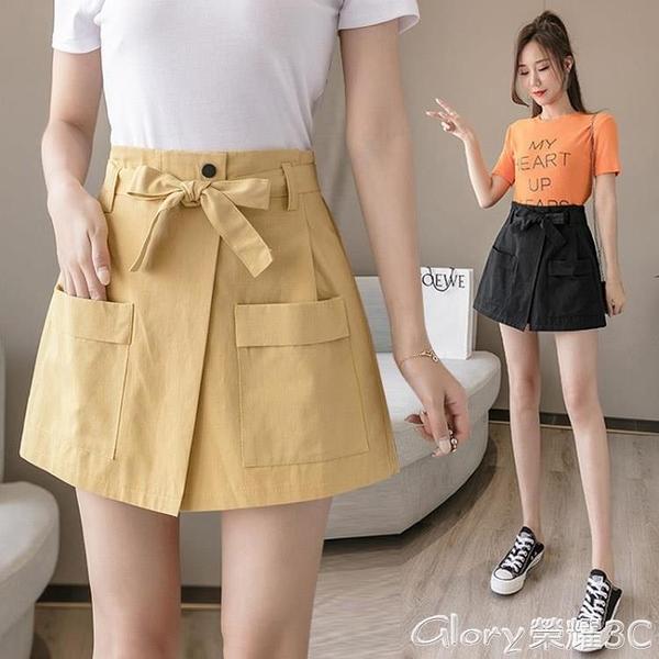 褲裙 2021新款短褲女夏高腰時尚不規則寬鬆外穿顯瘦a字褲裙女假兩件薄  618購物