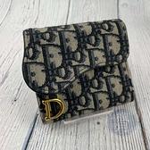 BRAND楓月 Christian Dior 迪奧 藍老花造型 金色LOGO 三折 短夾 錢包 錢夾 零錢包