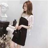 L-4XL韓版休閒連身裙25518/夏裝新款中長款波點短袖系帶假兩件溫柔風連衣裙黑色皇潮天下