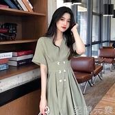 胖mm顯瘦洋裝女夏裝新款大碼收腰氣質法式小眾超仙桔梗長裙