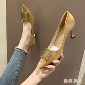 婚鞋2019新款秋鞋時尚尖頭單鞋百搭黑色職業高跟鞋女細跟紅色婚鞋 XN7067【極致男人】