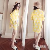 防曬衣服女夏季韓版中長款格子顯瘦雪紡開衫學生寬鬆百搭薄外套潮  korea時尚記