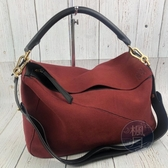 BRAND楓月 LOEWE 羅意威 麂皮 紅色 黑皮革邊 PUZZLE 拼接 兩用包 大手提包