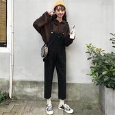 背帶褲 女春秋新款韓版學生百搭黑色九分牛仔褲女寬鬆減齡背帶褲【快速出貨】