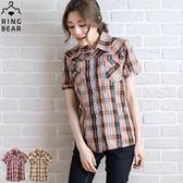 格紋襯衫--獨特品味顯瘦修身翻蓋式口袋收腰漸層格紋短袖襯衫(橘.紅M-2L)-H133眼圈熊中大尺碼