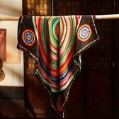 絲巾 真絲質方巾-時尚精美圖案女性披肩5色71s57【巴黎精品】
