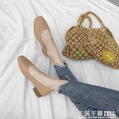 春夏新款韓版粗跟單鞋女淺口方頭復古奶奶鞋學生懶人鞋中跟小皮鞋 千與千尋