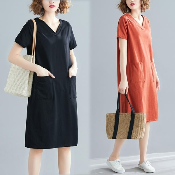 大尺碼洋裝 大碼女裝夏季寬鬆韓版中長款T恤裙子胖mm素面V領顯瘦短袖連身裙潮