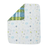 【奇哥】森林家族四層紗布被-粉藍(90×100cm)