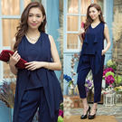 兩件套 韓國麻收身顯瘦飄逸女伶哈倫休閒九分褲套裝~美之札