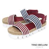 Tino Bellini西班牙進口文青條紋麻編厚底涼鞋_ 紅+藍 A73033 歐洲進口款