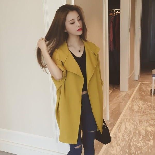 【GZ3E1】風衣外套 中長款韓版薄外套 寬鬆百搭薄款長袖開襟風衣