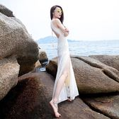 海邊度假沙灘開叉長裙掛脖連衣裙夏