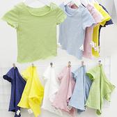 短袖上衣 女童竹節棉木耳邊純色短袖T恤 S73016 AIB小舖
