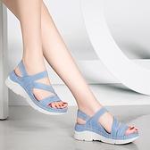 年新款足意爾康厚底涼鞋女平底超輕便夏季鬆糕底時尚運動女鞋 格蘭小鋪