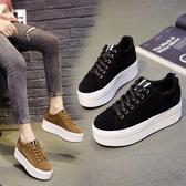 厚底鞋 鬆糕鞋2020春秋新款韓版黑色磨砂繫帶休閒鞋增高單鞋-完美
