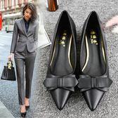皮鞋女 酒店工作鞋女黑色職業銀行上班鞋尖頭平底女鞋平跟單鞋皮鞋女工鞋 芭蕾朵朵