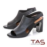 TAS異材質拼接側鏤空粗跟涼鞋-人氣黑