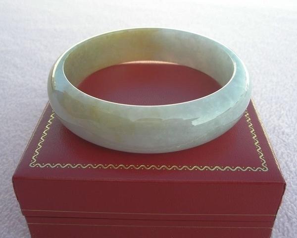 【歡喜心珠寶】【天然緬甸冰種蜜糖黃帶紫翡翠手鐲】玉鐲圍20.3圍.A貨附保證書和「寶石鑑定書」