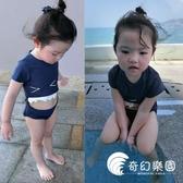 兒童泳衣女孩防曬鯊魚牙齒連體可愛男童泳褲嬰兒寶寶連體泳衣韓國-奇幻樂園