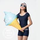 萊卡短袖泳裝泳衣平口泳褲二件式(附帽)現貨台灣製造美國杜邦萊卡【36-66-8H20110-21】ibella 艾貝拉