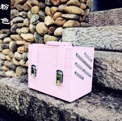 多色手提專業化妝箱多層防水美容美甲箱多層紋繡箱雙開家用收納箱