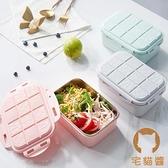 便當盒便攜不銹鋼分格帶蓋飯碗密封大容量餐盒【宅貓醬】