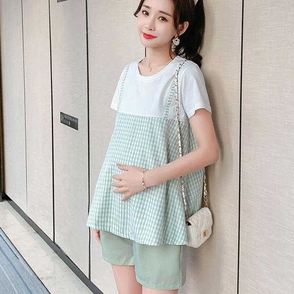 漂亮小媽咪 韓系 假兩件 孕婦 套裝【CP2325】格紋 假二件 短袖 棉T 托腹短褲 孕婦裝