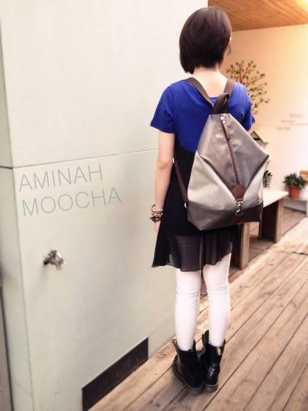 紫色 跳色輕巧簡易背包 AMINAH~【am-0233】