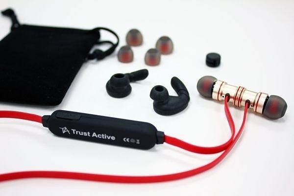【Trust Active】 無線藍芽鋁合金高音質隨身耳機_紅黑色