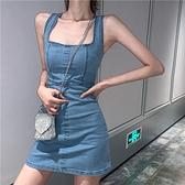 新款設計感小眾修身氣質女神范收腰顯瘦輕熟風牛仔吊帶洋裝女夏 【端午節特惠】