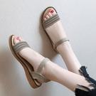 草編鞋 水鑚一鞋兩穿涼鞋女仙女風夏季新款學生百搭草編平底沙灘涼拖-Ballet朵朵