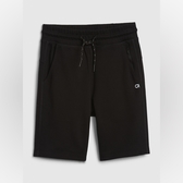 Gap男童舒適純色鬆緊腰運動短褲540244-純正黑