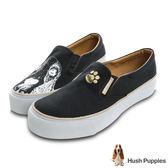 Hush Puppies 巴吉度狗印花咖啡紗厚底懶人鞋-黑色