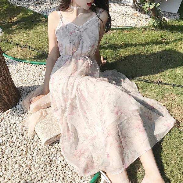[超豐國際]復古chic風碎花雪紡吊帶連衣裙兩件套裝裙仙女裙1入