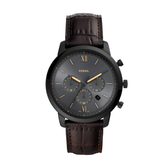 FOSSIL經典三眼黑鋼皮帶腕錶FS5579