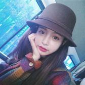 蝴蝶結毛呢帽子女韓版英倫圓頂爵士禮帽復古盆帽 黛尼時尚精品