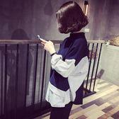 秋季女裝長版T恤潮正韓寬鬆外穿條紋上衣服學生bf風假兩件打底衫