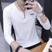 男長袖衣服V字領男t恤純白色內搭