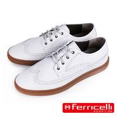 【ferricelli】Outback翼紋雕花皮革休閒鞋  白色(F51418-ICE)