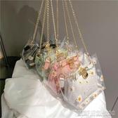 果凍包夏天透明包包新款潮時尚單肩斜背包女百搭ins花朵鍊條果凍包 凱斯盾