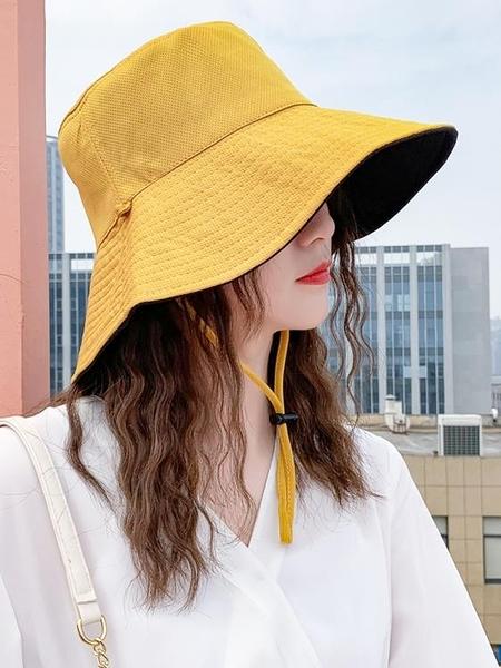 牛仔帽ins網紅帽子女百搭日系雙面遮陽帽防曬大檐遮臉漁夫帽韓版女夏天 嬡孕哺