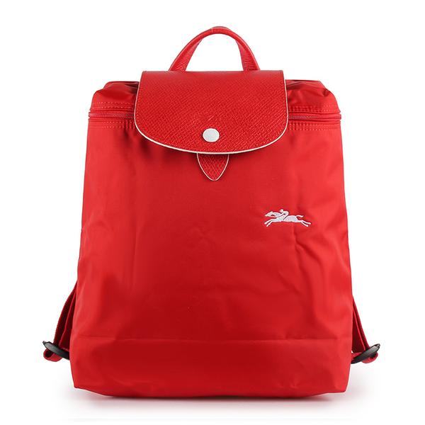 Longchamp Le Pliage刺繡LOGO折疊尼龍後背包(紅色)480210-P20