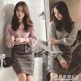 毛衣兩件套裙女秋冬新款時尚毛呢包臀裙小香風時髦套裝洋裝
