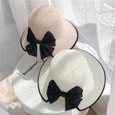 草帽 蝴蝶結遮陽防曬太陽帽 海邊沙灘帽 漁夫帽【多多鞋包店】m218